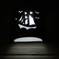Sail Boat Ceramic Outdoor Dark Sky Wall Light Handmade to order in NM USA