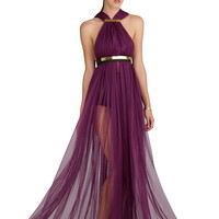 ZENCHI Halter Gown in Purple | GNOSSEM | Top Independent Designers | Free Shipping Worldwide