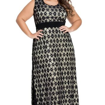 Black Flowery Lace Overlay Belted Curvy Maxi Dress
