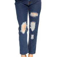 Blue Denim Distressed Pants