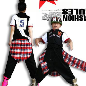 Adlut kids erformance wear punk Trousers sweatpants plaid patchwork wear ds costume False two harem Hip hop dance pants