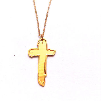 Cross Necklace Gold Necklace Dainty Cross Icon Jewelry Design Logo Necklace Beep Jewellery Gold Plated Small Pendant Miniature Gold Cross