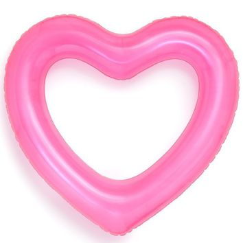 Translucent Neon Pink Jumbo Heart Inner Tube Pool Float by Bando