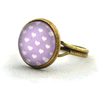 Ring Colourful Rose Purple Heart Cabochon Polka Dots Pop Pattren Unique Gifts Kawaii,  In Fashion Jewelry