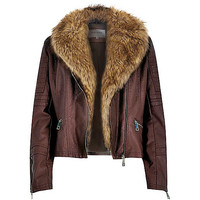 River Island Womens Dark red leather-look faux fur biker jacket