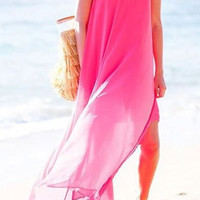 Pink Backless Chiffon Maxi Dress