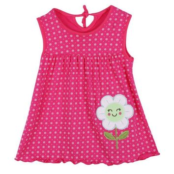 Summer Cute Infant Baby Girl Dress Sleeveless Flowers Printed A-Line One Piece Mini Dress 1-2Y Princess Modern Style