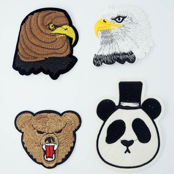 Eagle Hawk Panda Bear Bird Iron On Patches Sewing Embroidered Applique for Jacket Clothes Stickers Badge DIY Apparel Accessories