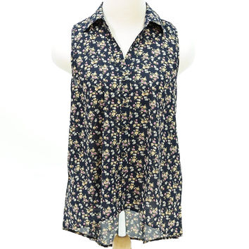 Floral print lace back short sleeve button down shirt
