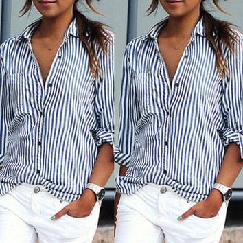 LMFYN6 2016 women top chiffon blouse shirt Mujer Shirt Stand Collar Long sleeve striped woman blusas office shirts women vintage blusa