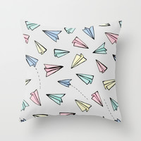 paper planes; Throw Pillow by Pink Berry Patterns