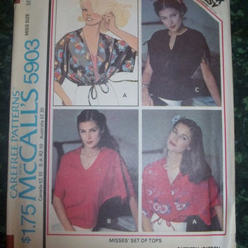 25% Off UnCut 1970's McCall's Sewing Pattern, 5903! Size Medium Women's/Misses, Blouses/Tops/Shirts, Hippie Casual, Summer & Spring, Loose F