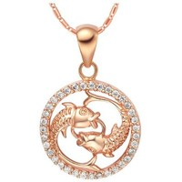 18K Rose Gold Plated Pisces Horoscope Zodiac Pendant Necklace