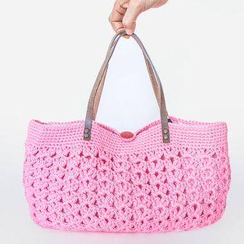 BAG // Pink summer bag - Handbag Celebrity Style With Genuine Leather Straps / Handles shoulder bag-crochet bag-hand made