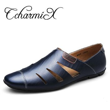 Men Formal Shoe Wedding Dress Men's Oxfords Business Summer Slip On Male Genuine Leather Footwear
