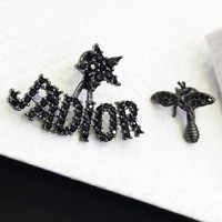 DIOR Popular Women Bee Letter Black Diamond Earrings Jewelry Accessories