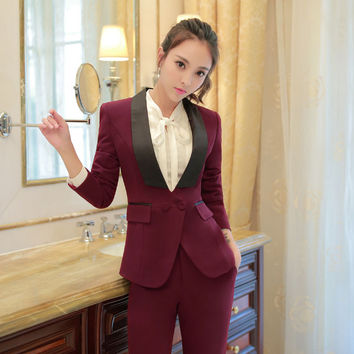Novelty Wine Formal Professional Office Work Wear Suits Jackets And Pants Business Women Trousers Set Female Pantsuits Blazers