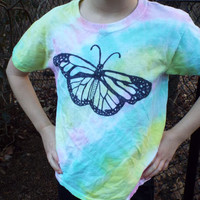 Girls Butterfly Shirt, Custom Tie Dye Butterfly Tshirt for Girls, Butter fly, Butterflies, Butterfly Birthday, Girls Tie Dye Shirt