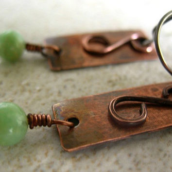 Copper Earrings Mint Green Amazonite Mixed Metal Jewelry Hammered Earrings