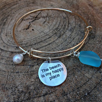 Beach Bangle Bracelet, Aqua Blue Sea Glass Stone Bracelet, The Beach is My Happy Place Bangle Bracelet, Stacking Bracelet, Stamped Jewelry