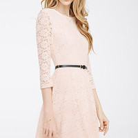 Belted Lace Skater Dress