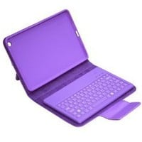 Wireless Removable Detachable Bluetooth Keyboard with Pu Leather Case Tablet Stand for Ipad Mini New (Purple)