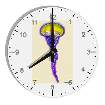 "Jellyfish Outlined in Purple Watercolor 8"" Round Wall Clock with Numbers"