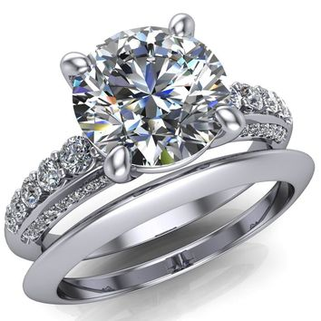 Sailor Round Moissanite 4 Prong Half Eternity Engagement Ring