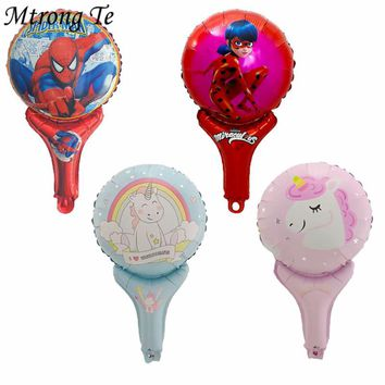 50pcs/lot Cartoon Spiderman Ladybug Unicorn hand Sticks Foil Balloons Baby Birthday Wedding Party Decorations Kids Toys Supplies