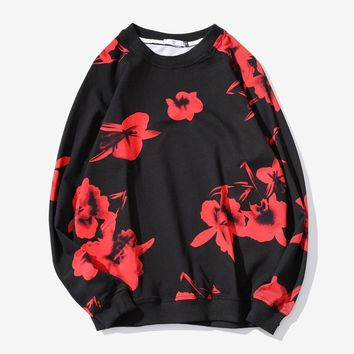Chinese Style Hoodies Men Floral Printing Cotton Mens Hoodie Sweatshirt Hip Hop Baggy Long Sleeve Casual Loose Hoodies Men 5XL