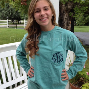 Monogrammed Long Sleeve Comfort Colors by GladevilleFarmhouse
