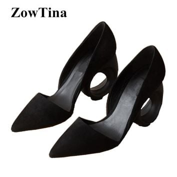 Black Suede Women Dress Pumps Pointed Toe Fretwork High Heels Wedding Shoes Woman Large Size 42 Zapatos Mujer Formal Stiletto