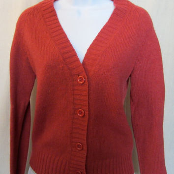 Vintage 70s RED SEARS Button Front WOMENS Cardigan Jumper