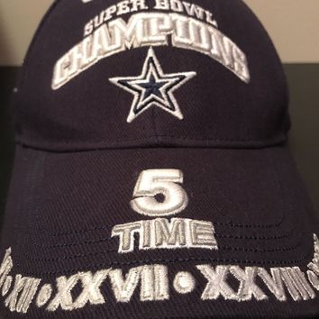 Dallas Cowboys 5 Time NFL Super Bowl Logo Win Hat Reebok Adjustable