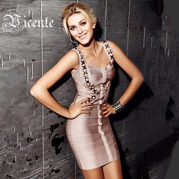Free Shipping!!! Women's Metal Embellished Slim Bodycon Celebrity Club HL Bandage Dress