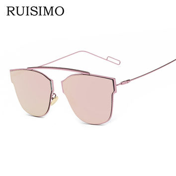 Pink vintage Mirror female Women Cat Eye Sunglasses Brand Designer rim-less ladies Sun glasses for women Oculos Feminino