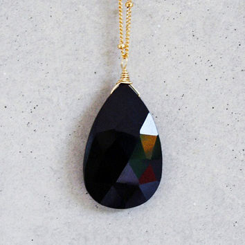 Faceted Onyx Drop 14k Gold Filled Necklace