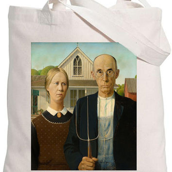 Eco-friendly 100% Organic Cotton Iron On Transfer Tote Bag American Gothic /Grant Wood/ Famous Painters Natural Bag