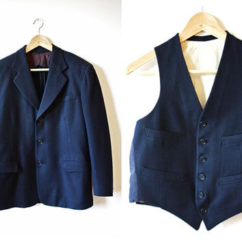 1940s Navy Three Piece Vintage Suit Hand Tailored Mens 34 - 36 XS