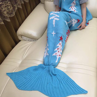 Hot Deal Birthday Gifts Christmas Knit Mermaid Sofa Blanket [9594670223]