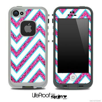 Large Chevron and Pink Sparkled Skin for the iPhone 5 or 4/4s LifeProof Case