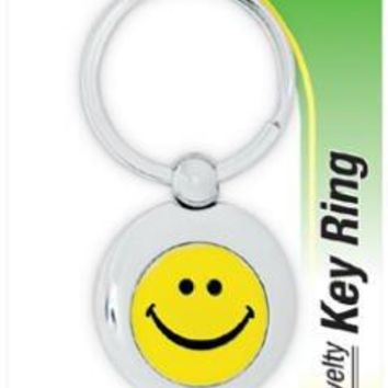 Hy-Ko KF650 Smiley Face Novelty Key Chain Ring, Silver