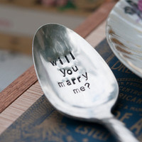 "Personalized proposal - ""Your name... Will you Marry me""- Vintage silver plate tea/coffee spoon"