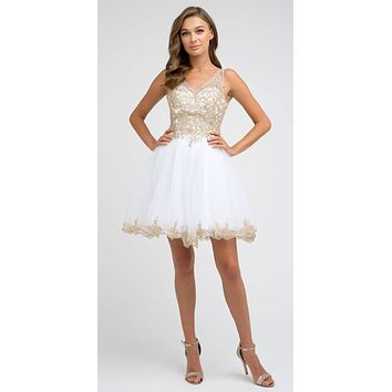Short Tulle A-Line White/Gold Homecoming Dress Lace Applique Bodice