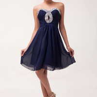 Navy Blue Beads Fringed Ruched Homecoming Dress