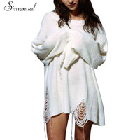 Big size 2016 ripped long women sweaters and pullovers elongated sleeve fringe vintage white knitted jumper white loose sweater