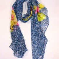 Spun Large Floral Batik Scarf Cobalt Shop Online Carolina Boutique Mill Valley