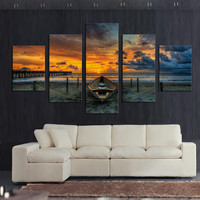 5pcs Large HD Seaview With Ship Top-rated Canvas Print Painting For Living Room Wall Art Picture Gift Decoration Home Picture