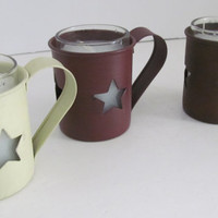 Primitive Candle Rusty Tin Star Candle Holder Primitive Rustic Home Decor Rusty Baby Cup Votive Candle Holder