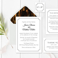 Wedding Invitation Suite Templates, Modern Printable Wedding Invitation, Details, Thank You, RSVP, Envelope Liners Templates, DIY You Print